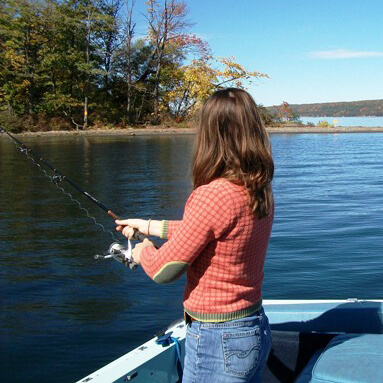 Girl fishing in Cayuga Lake