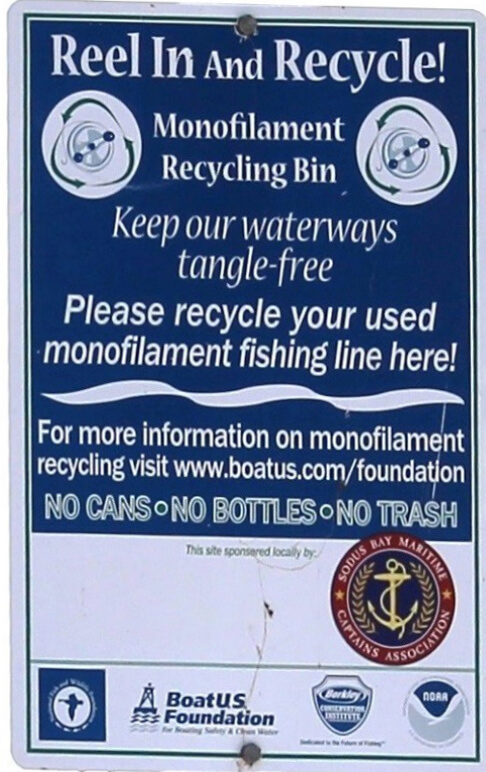 Poster asking anglers to recycle fishing line