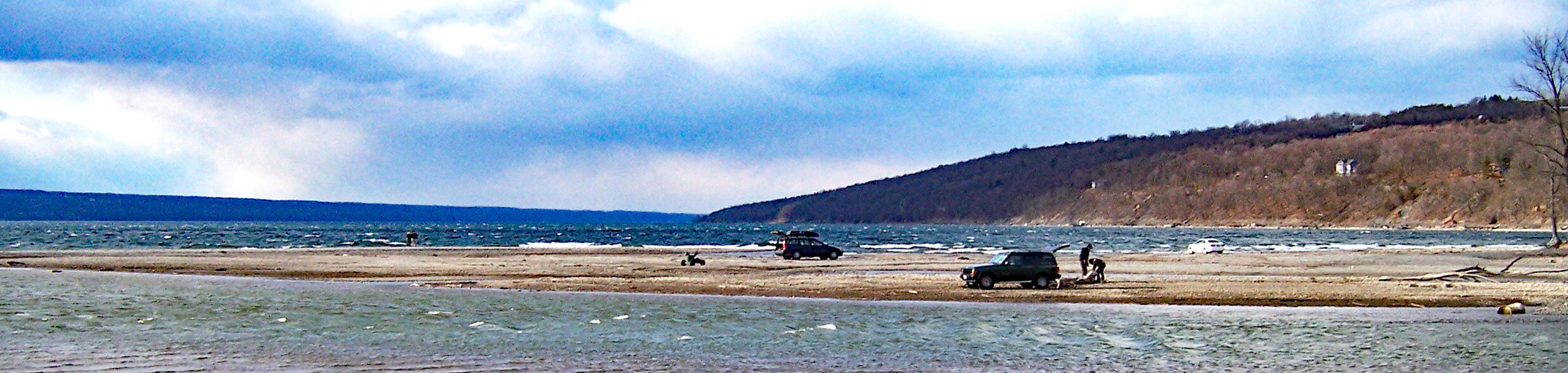 Low lake level at Myers Point on Cayuga Lake during winter