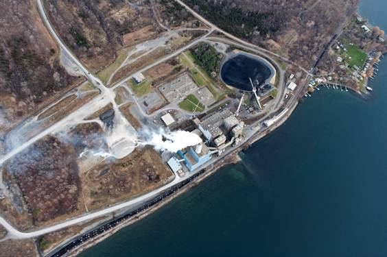 Aerial view of power plant on Cayuga Lake