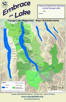 Embrace the Lake map of Cayuga Lake Watershed