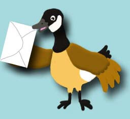 Cartoon duck holding envelope