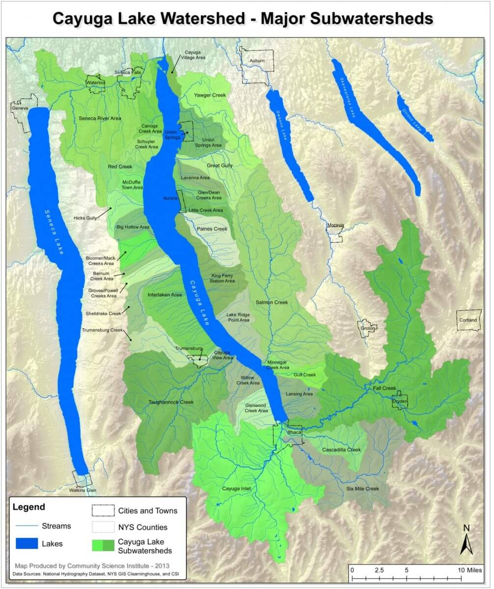 Map of the Cayuga Lake Watershed