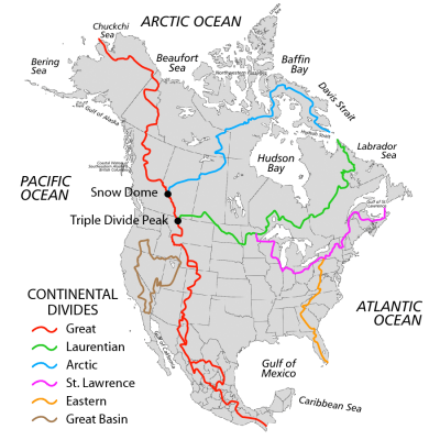 Map of North America showing major watersheds