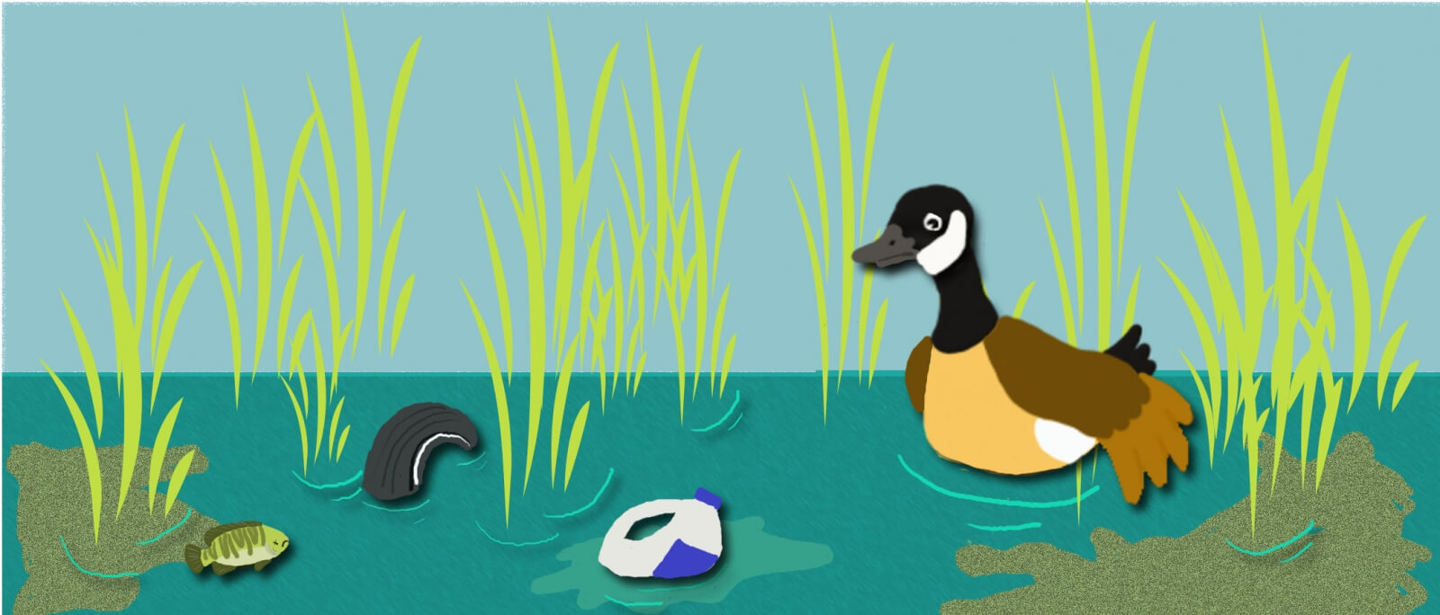Cartoon of duck in water with trash